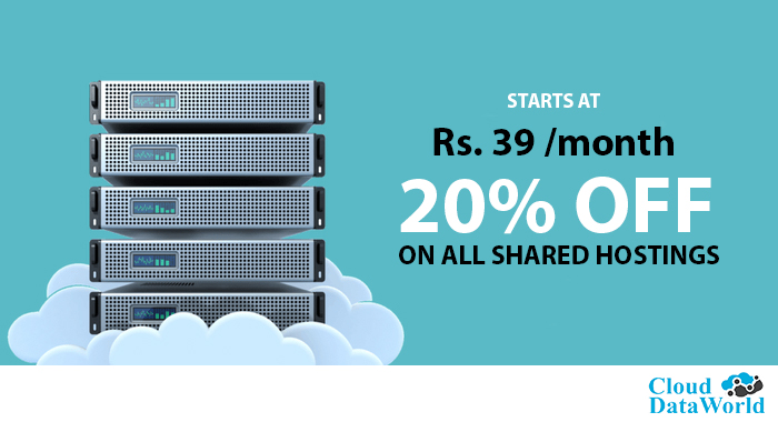 20% inaugural discount on all Shared Hosting – Starts at Rs. 39/month